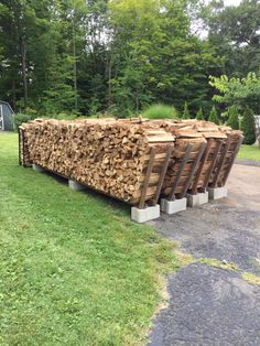 Firewood stacking racks holds 1 cord per  row. Made with 3 cinder blocks , 4 8ft 2x4 and 2 8ft 1x3 (cut in half length wise for ends. Total cost per rack = $18.00