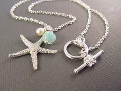 Starfish Necklace, Silver Sea Star Charm with Pearl and Seafoam Dangle, Beach Wedding, Bridesmaid Gift  ~ Hawaii wedding bridesmaid gift