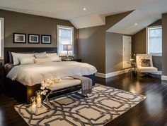 Bedroom Ideas - wall colour (BM Rockport Gray) with dark furniture and white accents