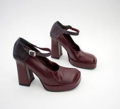 Vintage shoes 1990s wine platform chunky heel Mary Janes... Sonja always had a pair
