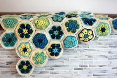 African Flower Hexagon blanket in progress