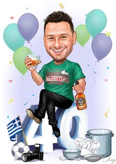 The man is wearing a green t-shirt with RABBITOHS written across it in white and red color. The items at the bottom are a Greek flag, a camera, a cooking mixing bowl, spoon, chefs hat and a soccer ball. Party Cartoon, Birthday Cartoon, Blue Wallpaper Iphone, Blue Wallpapers, Greek Flag, Hero Movie, Man Birthday, Portraits, Baby Love