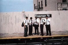 Camilo Jose Vergara, Mormon Missionaries looking at a New York City subway map, Freeman Street Station, South Bronx, 1994
