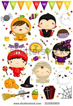 Halloween Costume Clipart - Cute Monster Clip Art - Cute Characters - Free SVG on Request Halloween Bebes, Halloween Paper Crafts, Halloween Rocks, Halloween Painting, Halloween Clipart, Cute Halloween Costumes, Halloween Decorations, Halloween Party, Halloween Tattoo