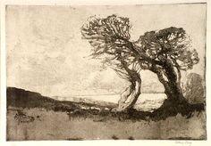 Sydney Long, A Cornish landscape ,1919   Technique: aquatint and softground-etching,