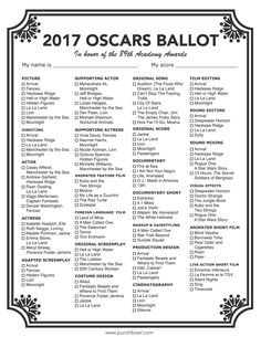 Printable Oscars Ballot. Celebrate the glitz and glamour of the Academy Awards with a fun Oscars party! To get guests chatting, pass out our free Oscars Ballot and have everyone fill one out.