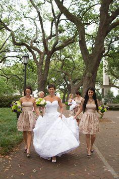 This is SO Savannah! Bridal party walking through the Square… | http://shannonchristopher.com/2012/05/roxy-travis-savannah-wedding-photographer/