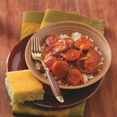 """Barbecue Kielbasa: In Canfield, Ohio, Gina Slaven serves this main dish with corn bread and green beans. """"It can easily be tripled for potlucks."""" Gina notes. Serve the sweet sauce-covered sausage over hot cooked rice if time allows, or cut it into bite-size pieces for an appetizer"""