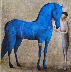 felixinclusis: colin-vian: Gabriel Pacheco cover of 12 poemas. Painted Horses, Gabriel Pacheco, Arte Equina, Horse Illustration, Blue Horse, Horse Drawings, Horse Sculpture, Equine Art, Horse Art