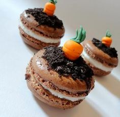 """Love these cute carrot and """"dirt"""" macarons."""