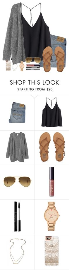 """""""today's gonna be fun!"""" by simplyytorii ❤ liked on Polyvore featuring Abercrombie & Fitch, H&M, Monki, Billabong, Ray-Ban, tarte, Kate Spade and Casetify"""