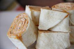 tortilla pinwheels with salsa-cream cheese filling