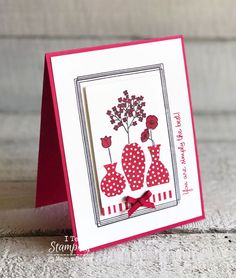 Stampin Up Swirly Frames: Adding Depth to Your Cards See how the Stampin Up Swirly Frames stamp set Hanging Vases, Stamping Up Cards, Rubber Stamping, Card Patterns, Paper Cards, Flower Cards, Creative Cards, Greeting Cards Handmade, Homemade Cards