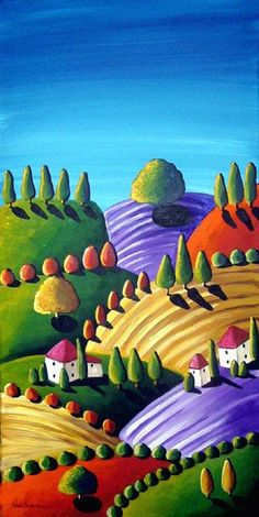 Colorful Whimsical Tuscan Tuscany Landscape Folk Art Painting Original via Etsy