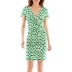 CopyKate's Green prints: MSK Faux Wrap Sheath with Ruching - JCPenney