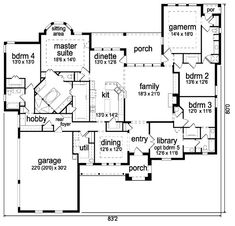 Eliminate bedroom 4 and bath. Eliminate gameroom and bath. Keep bedroom and corner bath. Don't need donning room. Not sure what to do with bedroom House Plans One Story, Dream House Plans, Story House, House Floor Plans, My Dream Home, Dream Houses, Dream Land, The Plan, How To Plan