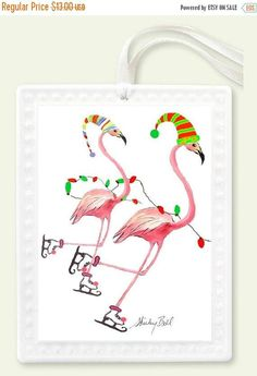 This is a new ornament with my skatimng flamingo design on it. I am so pleased with the quality and size of it. It comes in a nice package and has a white ribbon to hang it on your tree. Size: 2.5 x 3.0 Material: Porcelain For more ornaments: