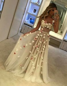 Prom Dress For Teens, Spaghetti Straps See Through Long A-Line Ivory Prom Dresses With Appliques, cheap prom dresses, beautiful dresses for prom. Best prom gowns online to make you the spotlight for special occasions. Ivory Prom Dresses, Unique Prom Dresses, Backless Prom Dresses, Tulle Prom Dress, Cheap Dresses, Pretty Dresses, Beautiful Dresses, Evening Dresses, Prom Gowns