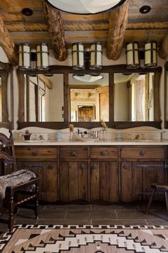love this idea for a Rustic Bathroom!