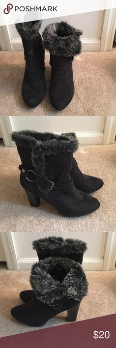 Dana Buchman boots Black fur trimmed Dana Buchman boots with black and silver side buckles. Can be worn up or folded over. Worn once. Dana Buchman Shoes Ankle Boots & Booties