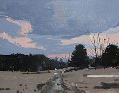 Weather Station at Dusk, Original Spring Landscape Painting on Panel, Stooshinoff