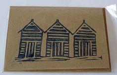 Lino printed beach hut