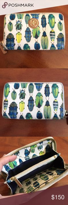 Tory Burch Beetle Zippy Compact Wallet Used but still in good condition. Tory Burch Bags Wallets