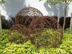 Garden sculptures wire art sculptures New Zealand artist - wire balls, trees, sheep made for gardens and outdoors.