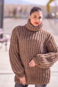 FREE SHIPPING Tiffy Mohair 100 % wool Hand Knitted T- neck  Sweater   M L XL  Made to order T 507 by TiffysMohair on Etsy