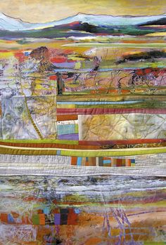 judy hoiness and jean wells keenan_ collaborative abstract landscape_fabric and paint on paper
