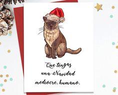 Tarjeta que tengas una navidad mediocre y es un gato