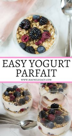 Arkansas lifestyle blogger Maune Legacy shares her Easy Yogurt Parfait Recipe, a healthy breakfast or snack filled with creamy yogurt, layered with granola and fresh berries. Let your kids have fun making their own and enjoy a healthy, quick breakfast. Click here now for the full recipe. #greekyogurt #healthybreakfast #healthyrecipe #yogurtparfait