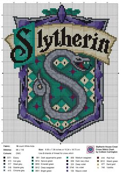 Crochet Blankets Or Afghan Patterns 93538 Slytherin House Crest cross stitch chart. Pixel Art Harry Potter, Harry Potter Cross Stitch Pattern, Cross Stitch Patterns Free Disney, Free Cross Stitch Charts, Free Charts, Cross Patterns, Counted Cross Stitch Patterns, Cross Stitching, Cross Stitch Embroidery
