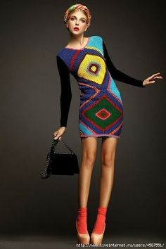 Outstanding Crochet: Granny Square Crochet Dress - pattern available. Crochet Skirts, Crochet Clothes, Crochet Granny, Knit Crochet, Crochet Designs, Crochet Patterns, Dress Patterns, Mode Crochet, Crochet Woman
