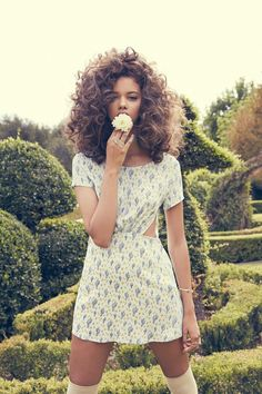 """Titled """"Summer Haze"""" and starring Brazilian beauty Marina Nery, the latest spring / summer 2015 offering coming from the likes of For Love & Lemons is Marina Nery, Curly Hair Styles, Natural Hair Styles, Curly Girl, Big Hair, Pretty Hairstyles, Hair Goals, Hair Inspiration, Fashion Beauty"""