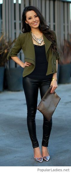leather-pants-black-top-olive-jacket-and-silver-shoes
