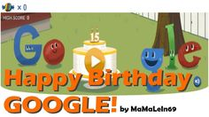 Google - Google's 15th Birthday Doodle - On September 27th 2013 there is a Google Doodle about Google's 15th Birthday. Google celebrates his own Birthday with a nice interactive Google Doodle. You have to try as many sweets as possible to beat out the Piñata. What is your high score?