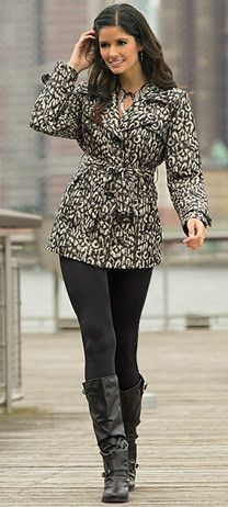 leopard trench & black leather boots; need this coat!
