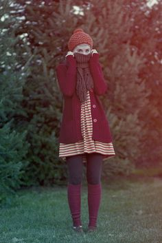 Colors + sweater over dress + long socks over leggings