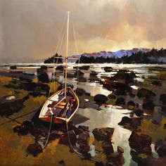 """""""Near Ford's Cove, Hornby Island,"""" by Michael O'Toole 40 x 40 - acrylic Canadian Painters, Canadian Artists, Watercolor Landscape, Landscape Art, Traditional Paintings, Modern Landscaping, Water Crafts, Best Artist, Painting Inspiration"""