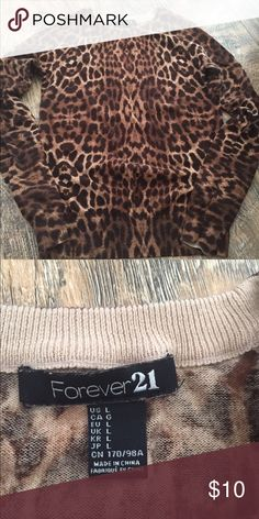 1bff688283e0 Like New Forever 21 Cheetah Sweater Like new worn only once ... lightweight  Forever