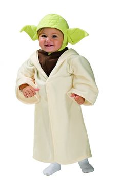 Master Jedi Yoda Toddler Costume - Star Wars Costumes  Size: Toddler 2-4 - Years 1-2  Jedi Master Includes: Head piece with Hooded Robe!  The hooded robe uses Velcro to shut in the front and has an attached mock shirt that zips up.  The headpiece snaps together under the chin.