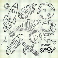 conjunto de doodle espaço — Vetor de Stock © mhatzapa #13289700