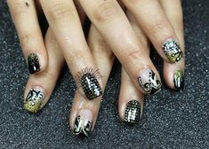 sequins black gold winter party nails