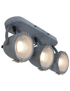 Industriële drielichtslamp Lumidem Paco grijs