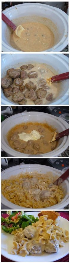 Meatball Stroganoff in a crockpot - Truelifekitchen #Food-Drink