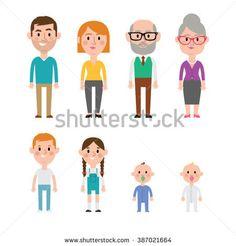 Flat vector caucasian family members. Parents, grandparents, children and baby.