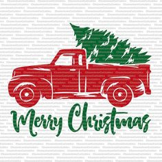 Christmas Truck svg cut file decal vector by ChameleonCuttables