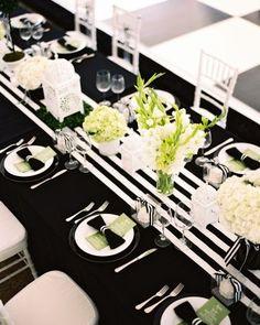 mariage noir et blanc rayures