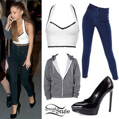 Ariana Grande: White Halter Top, Seamed Jeans no to the sweater Ariana Grande Outfits Casual, Casual Outfits, Cute Outfits, Estilo Kylie Jenner, Jugend Mode Outfits, Mode Chanel, Teen Fashion Outfits, Platform Pumps, Her Style